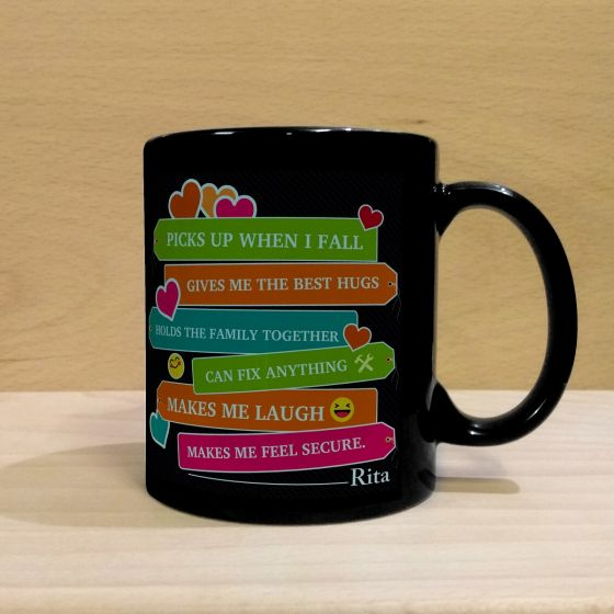Black customized mug for dad in pune