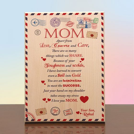 Plaques for mother. Personalized message - Letter to mom from daughter on a wooden postcard / Envelope. Mother's day gift.