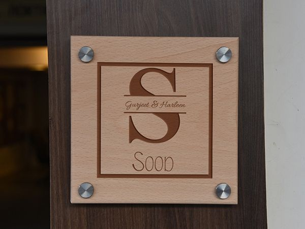 Engraved wooden name plate Chandigarh