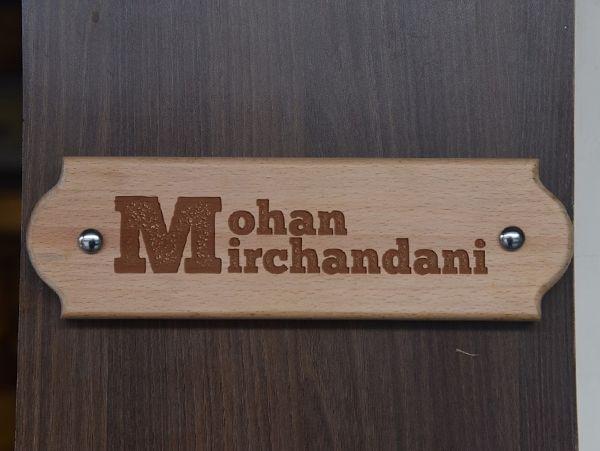 Wooden Engraved Name Plate: Scalloped Corners- Design -Mirchandani