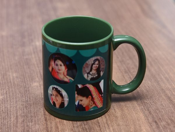 Green custom photo mug in Mumbai