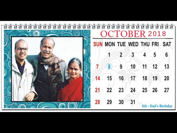 """Ourshop.in design studio will create a great looking personalized photo calendar with a collage of pictures on the cover page with desired theme. The personalized photo calendar is in size of 8.5""""x 6"""" inches and is available in vertica"""
