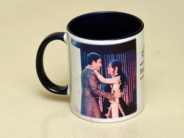 Blue  inside mug in pune. custom made with your photos