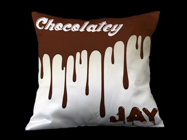 Chocolate themed personalized cushions with name