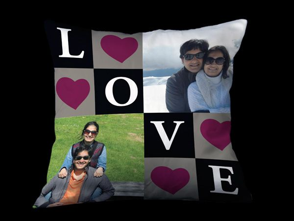 Photo pillows with hearts