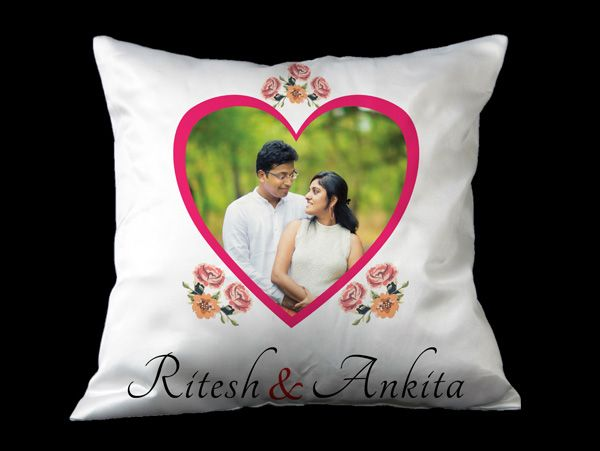 printed personalized heart shaped design on square cushions delivered online in india