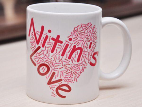 Heart Shape Word Collage Mug