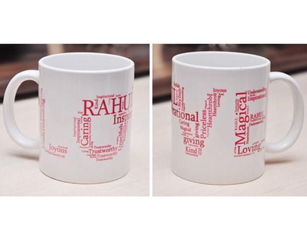 Love Shape Word Collage Mug