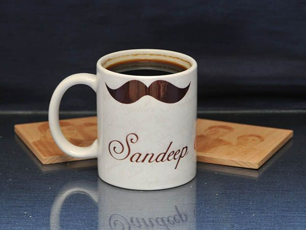 Funny Moustache mug in India, personalized  with name and phrases.