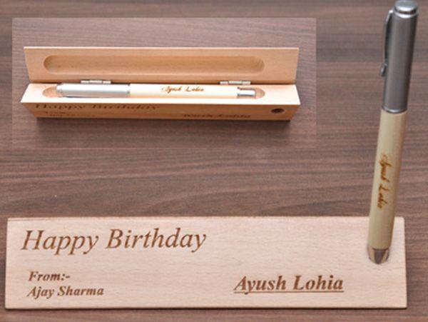 Engraved wooden pen. Delivery in Mumbai, Bengaluru, chennai, Delhi