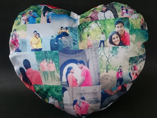 print collage heart shape pillows in Chennai, Bengaluru, Hyderabad