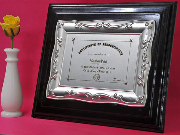 Laser Engraved Silver Plated Certificate