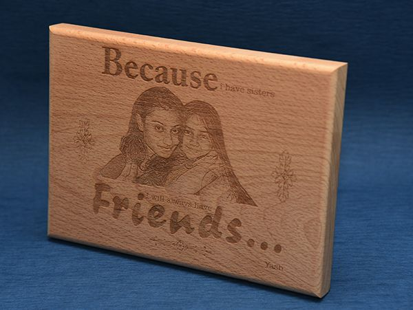Gifts for Sisters:Photo engraving on wood. Mysore, Mangalore
