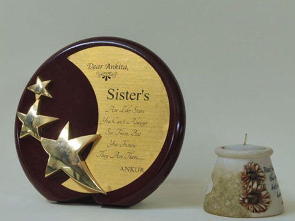 Round Walnut Finish Star And Moon Award..