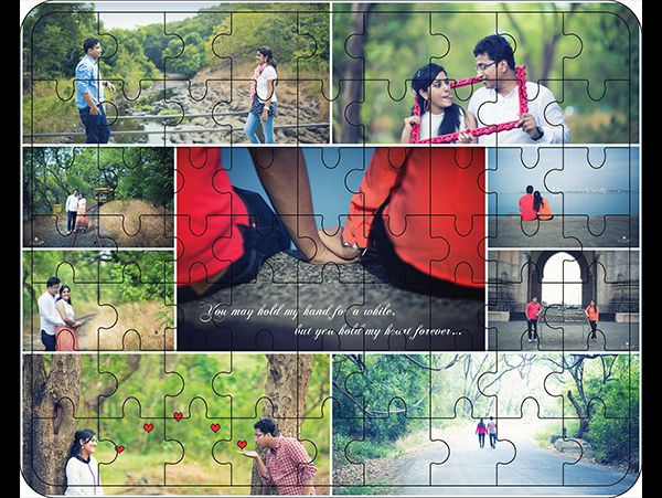 Customized photo collage jigsaw puzzle in wood. Deliver to Hyderabad- India
