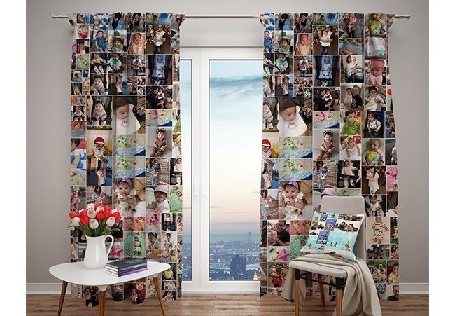 Customized Photo curtains grand kids