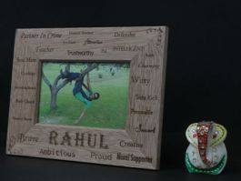 Engraved wooden photo frames in Hyderabad, custom made.
