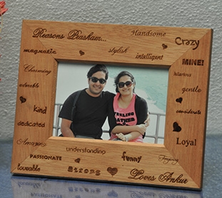 Personalized engraving photo on wooden frame. Mumbai, Bengaluru, Delhi, Chennai